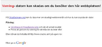 Google vill inte visa sidan!