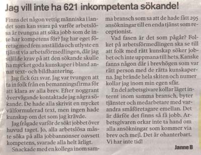Insändare i Aftonbladet